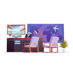 Travel agency empty office interior vector