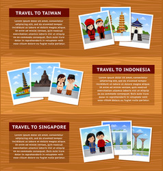 Travel to asia set horizontal web banners vector