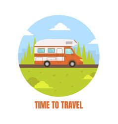 travel van packed and ready to set off on journey vector image