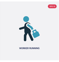 Two color worker running icon from people concept vector