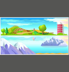 Vegetable farm and arctic nature landscapes vector