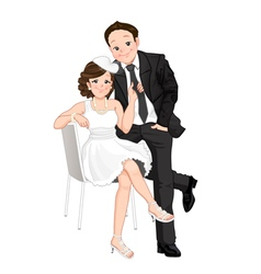 Wedding cartoon bride pulling on grooms tie isol vector image