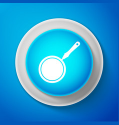white frying pan icon isolated on blue background vector image