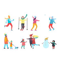 winter activity people seasonal hobby set vector image