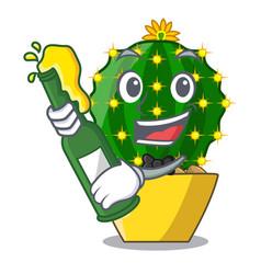 With beer cartoon mammillaria humboldtii cactus at vector