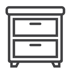 bedside table line icon furniture and interior vector image