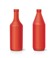blank plastic red ketchup bottle vector image
