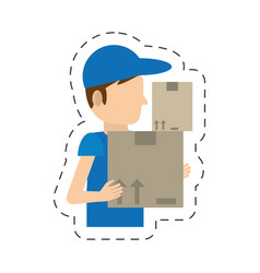 cartoon man delivery boxes work vector image