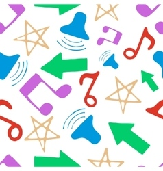 Hand drawn pattern with music elements vector