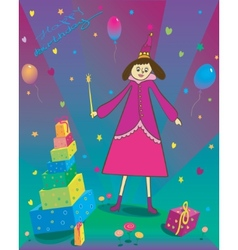 Happy Birthday of gift balloons and fairy vector image vector image