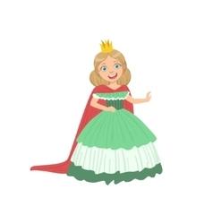 Little girl in green dress dressed as fairy tale vector