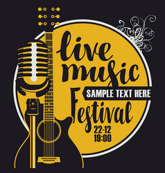 music poster with microphone and acoustic guitar vector image
