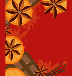 red background with orange cinnamon and chocolate vector image vector image