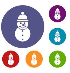snowman icons set vector image