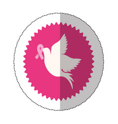 symbol dove with breast cancer ribbon in the peak vector image