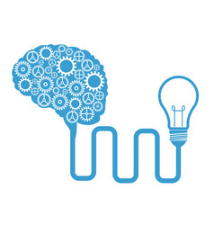 brain gears connected bulb creativity vector image