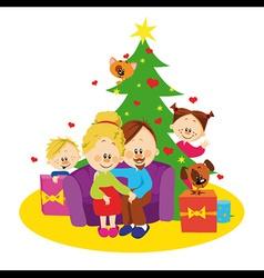 Family and christmas tree vector image