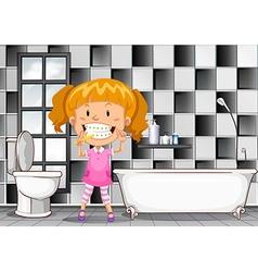Little girl brushing teeth in bathroom vector image vector image