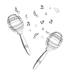 musical instrument maracas on white background vector image