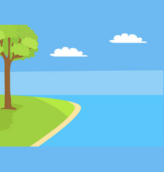 scenery landscape with river tree grown on lawn vector image