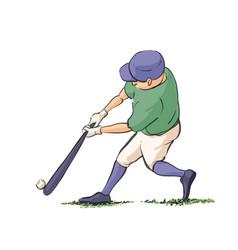 baseball player hits the ball vector image vector image