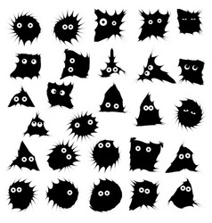 black funny monsters ink blots isolated set on vector image