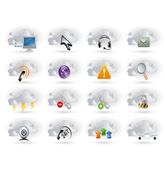 cloud networking icons set vector image vector image