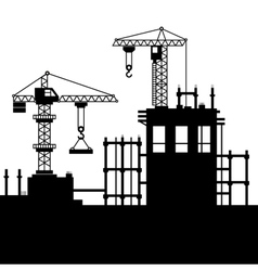 Construction Site with Tower Cranes vector image