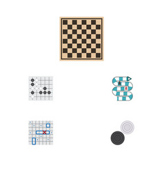 Flat icon entertainment set of chess table sea vector