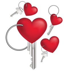 Key with Red Heart Set vector image vector image