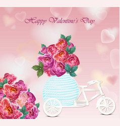 valentines day card peony flowers heart shape vector image vector image