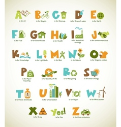 Ecology green alphabet with collection of elements vector image vector image