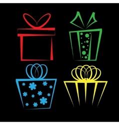 Gift box icon set vector image vector image