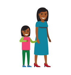 happy mother walking with daughter flat vector image vector image