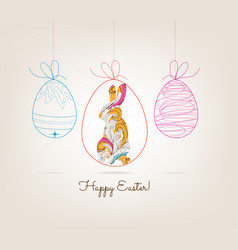 ornamental doodle easter egg and bunny vector image vector image
