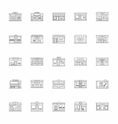 store facades set outline style vector image