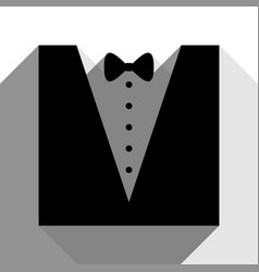tuxedo with bow silhouette black icon vector image