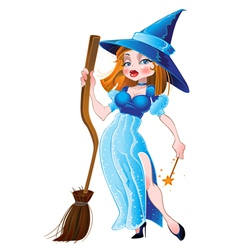 Witch in blue dress vector