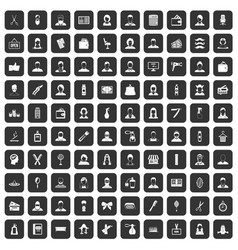 100 hairdresser icons set black vector