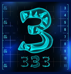 3 number three roentgen x-ray font light vector image