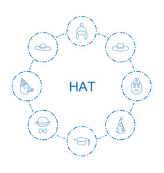 8 hat icons vector