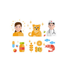 allergy symptoms and treatment icons set allergic vector image