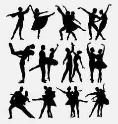 Ballet couple dance posing silhouette vector