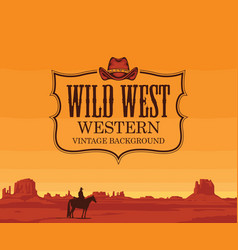 banner with western prairies and cowboy vector image