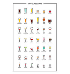 Bar glassware guide colored icons on white vector