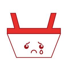 basket shopping kawaii character vector image