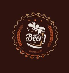 beer mug stylized symbol in retro style logo vector image