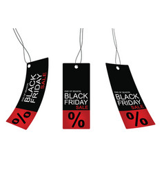 Black friday sale tag promotion banner set on red vector