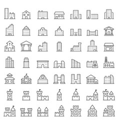 Building icon set in thin line style symbols vector
