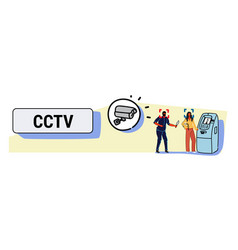camera recording masked thief with knife dangerous vector image